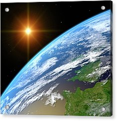 Earth, Artwork Acrylic Print by Science Photo Library - Roger Harris.