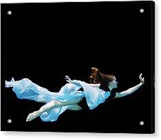 Female Dancer Underwater Against Black Acrylic Print