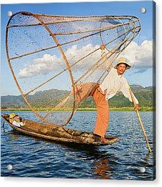 Fisherman On Inle Lake, Myanmar Acrylic Print