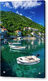 Fishing Boats And Blue Waters Acrylic Print by Russ Bishop