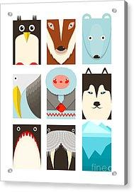 Flat Arctic Symbols Set. North Pole Acrylic Print