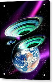 Flying Saucers Invading Earth, Artwork Acrylic Print by Victor Habbick Visions