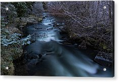 Frozen River And Winter In Forest. Long Exposure With Nd Filter Acrylic Print