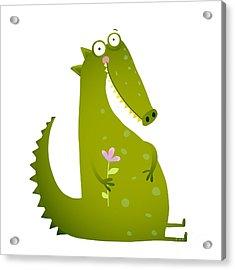 Green Cute Kids Crocodile Sitting With Acrylic Print