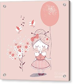 Hand Drawn Vector Illustration Of Cute Acrylic Print