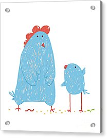Hen And Chicken Childish Cartoon Acrylic Print