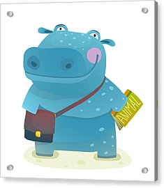 Hippopotamus Kid Student With Book And Acrylic Print