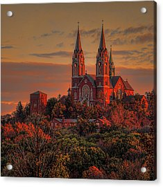 Holy Hill Sunrise Square Acrylic Print