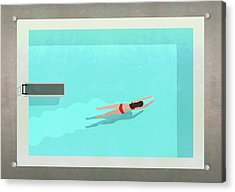 Illustration Of Woman Swimming In Pool Acrylic Print