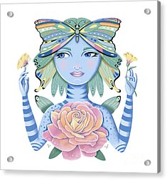 Insect Girl, Winga, With Rose Acrylic Print