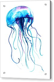 Jellyfish Watercolor Illustration Acrylic Print