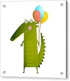 Kids Watercolor Style Crocodile With Acrylic Print