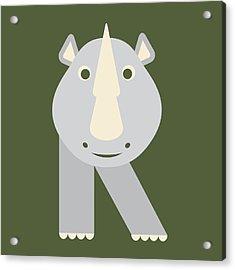 Letter R - Animal Alphabet - Rhino Monogram Acrylic Print