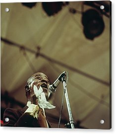 Louis Armstrong On Stage At Newport Acrylic Print by David Redfern