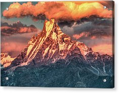Machapuchare Mountain, Fish Tail In Acrylic Print by Emad Aljumah