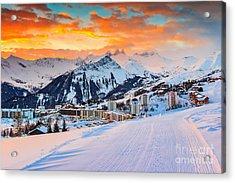 Majestic Winter Sunrise Landscape And Acrylic Print