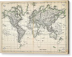 Map Of The World 1855 Acrylic Print by Thepalmer