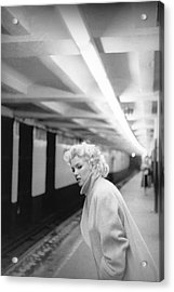 Marilyn In Grand Central Station Acrylic Print by Michael Ochs Archives