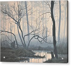 Acrylic Print featuring the painting Misty Hideaway - Wood Duck by Peter Mathios