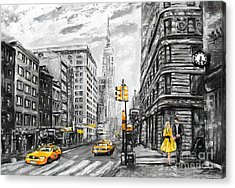Oil Painting On Canvas, Street View Of Acrylic Print