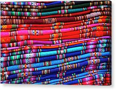 Piles Of Colorful Cloth For Sale Acrylic Print by David Wall