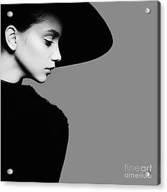 Portrait Of Beautiful Girl In Hat In Acrylic Print