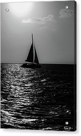Sailing Into The Sunset Black And White Acrylic Print