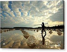 Salt Farm In Eastern, Thailand Acrylic Print
