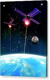 Satellite Attack, Artwork Acrylic Print by Victor Habbick Visions