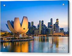 Singapore Skyline At The Marina During Acrylic Print by Sean Pavone