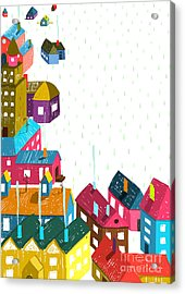 Small Town Or City With Houses Roofs Acrylic Print