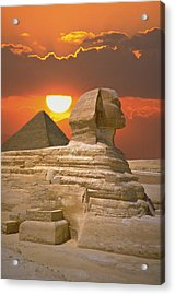 Sphinx And Pyramid At Sunset Acrylic Print