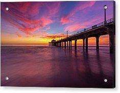 Stunning Sunset At Manhattan Beach Pier Acrylic Print