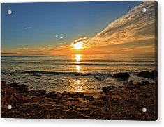 The Calm Sea In A Very Cloudy Sunset Acrylic Print