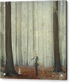 The Fox In A Wood To Hunt On A Hare Acrylic Print by Natalia maroz