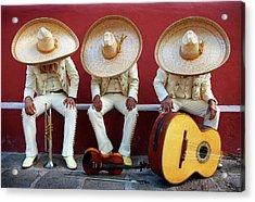 Three Mariachis On An Orange Wall Acrylic Print