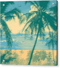 Tropical Idyllic Landscape With Palms Acrylic Print