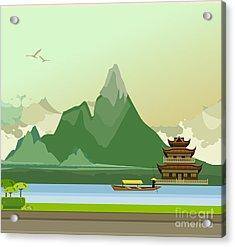 Vector Illustration Of An Old Buddhist Acrylic Print