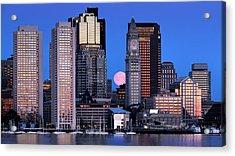 Vernal Equinox And The Worm Moon Over Boston Acrylic Print