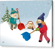 Winter Background With Playing Kids Acrylic Print