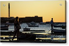Acrylic Print featuring the photograph Woman At Sunset La Caleta Beach Cadiz Spain by Pablo Avanzini