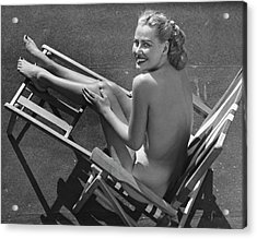 Woman In Beach Chair Acrylic Print by George Marks