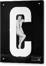 Woman Posing With Huge Letter C Acrylic Print by Everett Collection