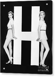 Women Posing With Huge Letter H Acrylic Print by Everett Collection