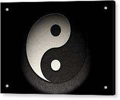 Acrylic Print featuring the photograph Yin Yang Symbol Leather Texture by Brian Carson