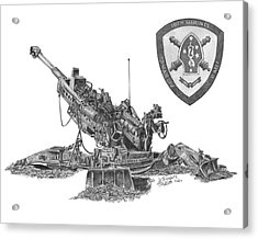 Acrylic Print featuring the drawing 10th Marines 777 by Betsy Hackett