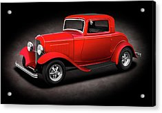 1932 Ford 3 Window Coupe  - 1932fordthreewindowcpespttext186144 Acrylic Print