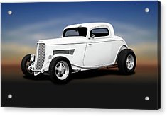 1933 Ford 3 Window Coupe   -  1933ford3windowcoupewhite196599 Acrylic Print by Frank J Benz