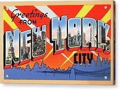 1950s Nyc Tourist Postcard Acrylic Print