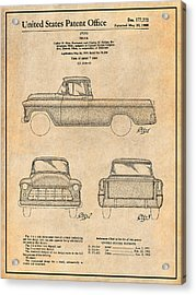 1955 Chevrolet Cameo Pickup Truck Patent Print Antique Paper Acrylic Print